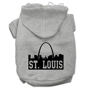 St Louis Skyline Screen Print Pet Hoodies Grey Size XXL (18)