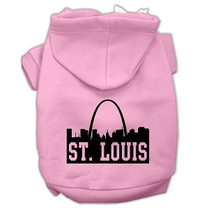 St Louis Skyline Screen Print Pet Hoodies Light Pink Size Lg (14)