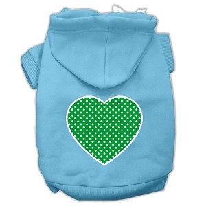 Green Swiss Dot Heart Screen Print Pet Hoodies Baby Blue Size Med (12)