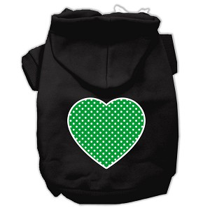 Green Swiss Dot Heart Screen Print Pet Hoodies Black Size XXL (18)