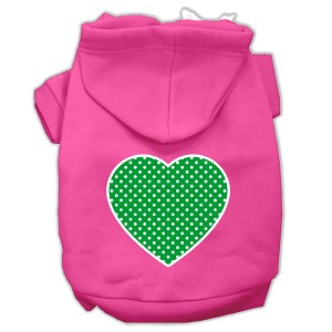 Green Swiss Dot Heart Screen Print Pet Hoodies Bright Pink Size XXXL (20)