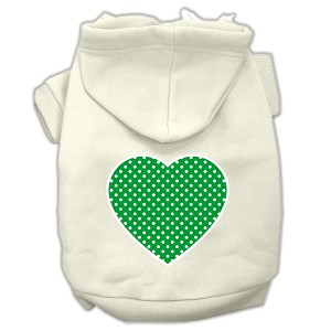 Green Swiss Dot Heart Screen Print Pet Hoodies Cream Size S (10)