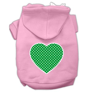 Green Swiss Dot Heart Screen Print Pet Hoodies Light Pink Size Sm (10)