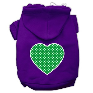 Green Swiss Dot Heart Screen Print Pet Hoodies Purple Size XXL (18)