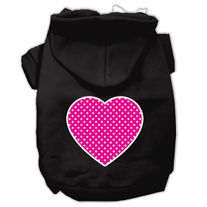 Pink Swiss Dot Heart Screen Print Pet Hoodies Black Size XXL (18)