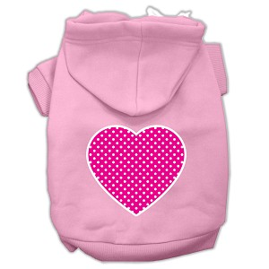 Pink Swiss Dot Heart Screen Print Pet Hoodies Light Pink Size Med (12)