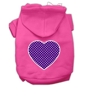 Purple Swiss Dot Heart Screen Print Pet Hoodies Bright Pink Size XXXL (20)