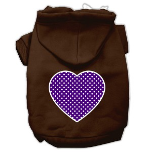 Purple Swiss Dot Heart Screen Print Pet Hoodies Brown Size XXXL (20)