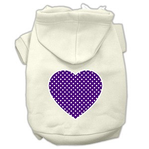 Purple Swiss Dot Heart Screen Print Pet Hoodies Cream Size S (10)
