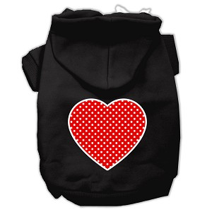 Red Swiss Dot Heart Screen Print Pet Hoodies Black Size Sm (10)