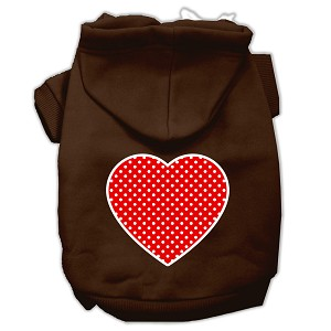 Red Swiss Dot Heart Screen Print Pet Hoodies Brown Size XL (16)