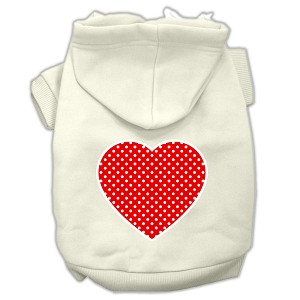 Red Swiss Dot Heart Screen Print Pet Hoodies Cream Size XL (16)