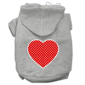 Red Swiss Dot Heart Screen Print Pet Hoodies Grey Size XS (8)