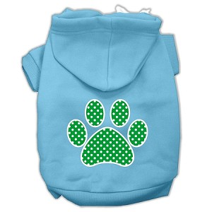 Green Swiss Dot Paw Screen Print Pet Hoodies Baby Blue Size Lg (14)