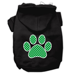 Green Swiss Dot Paw Screen Print Pet Hoodies Black Size XS (8)