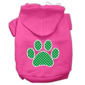 Green Swiss Dot Paw Screen Print Pet Hoodies Bright Pink Size XL (16)