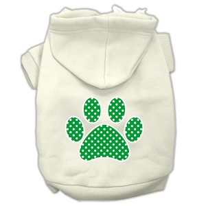 Green Swiss Dot Paw Screen Print Pet Hoodies Cream Size M (12)