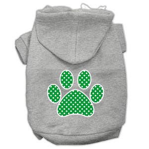 Green Swiss Dot Paw Screen Print Pet Hoodies Grey Size XXL (18)