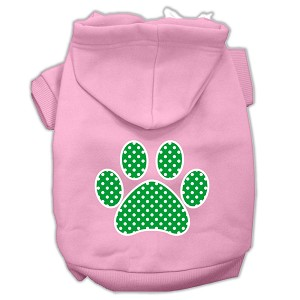 Green Swiss Dot Paw Screen Print Pet Hoodies Light Pink Size XS (8)