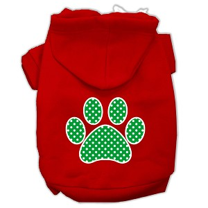 Green Swiss Dot Paw Screen Print Pet Hoodies Red Size Lg (14)