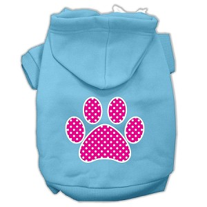 Pink Swiss Dot Paw Screen Print Pet Hoodies Baby Blue Size Med (12)