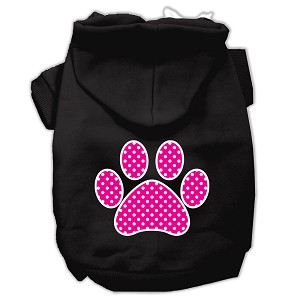 Pink Swiss Dot Paw Screen Print Pet Hoodies Black Size XXXL (20)