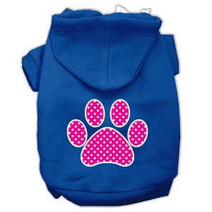 Pink Swiss Dot Paw Screen Print Pet Hoodies Blue Size XL (16)