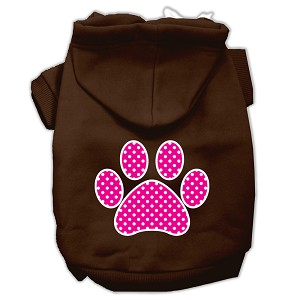 Pink Swiss Dot Paw Screen Print Pet Hoodies Brown Size XL (16)