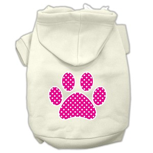 Pink Swiss Dot Paw Screen Print Pet Hoodies Cream Size XXL (18)