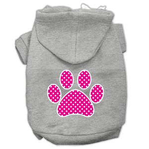 Pink Swiss Dot Paw Screen Print Pet Hoodies Grey Size Med (12)