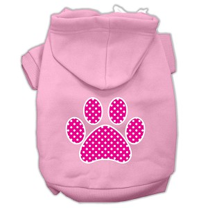Pink Swiss Dot Paw Screen Print Pet Hoodies Light Pink Size Med (12)