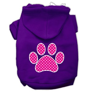 Pink Swiss Dot Paw Screen Print Pet Hoodies Purple Size Med (12)