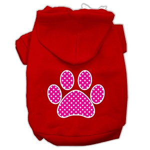 Pink Swiss Dot Paw Screen Print Pet Hoodies Red Size XS (8)