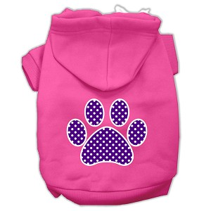 Purple Swiss Dot Paw Screen Print Pet Hoodies Bright Pink Size Sm (10)