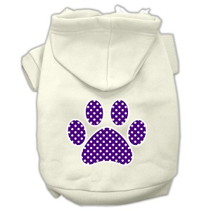 Purple Swiss Dot Paw Screen Print Pet Hoodies Cream Size XL (16)