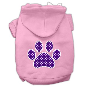 Purple Swiss Dot Paw Screen Print Pet Hoodies Light Pink Size Lg (14)