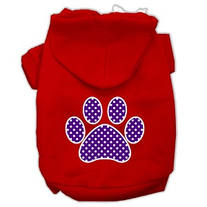 Purple Swiss Dot Paw Screen Print Pet Hoodies Red Size Med (12)