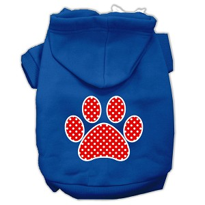 Red Swiss Dot Paw Screen Print Pet Hoodies Blue Size Sm (10)