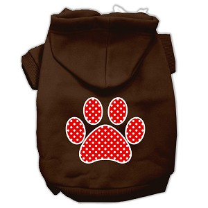 Red Swiss Dot Paw Screen Print Pet Hoodies Brown Size XXXL (20)