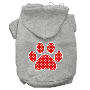 Red Swiss Dot Paw Screen Print Pet Hoodies Grey Size XXXL (20)