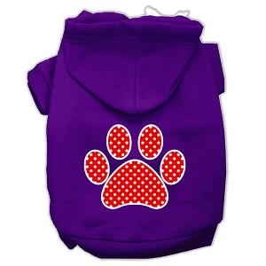 Red Swiss Dot Paw Screen Print Pet Hoodies Purple Size XXXL (20)
