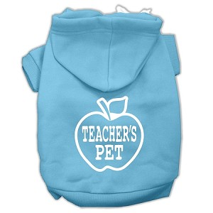 Teachers Pet Screen Print Pet Hoodies Baby Blue Size XL (16)