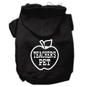 Teachers Pet Screen Print Pet Hoodies Black Size M (12)