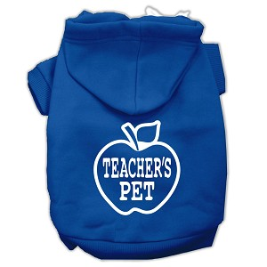 Teachers Pet Screen Print Pet Hoodies Blue Size M (12)
