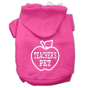 Teachers Pet Screen Print Pet Hoodies Bright Pink Size S (10)