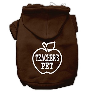 Teachers Pet Screen Print Pet Hoodies Brown Size XS (8)
