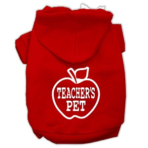 Teachers Pet Screen Print Pet Hoodies Red Size L (14)