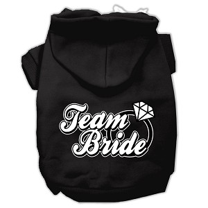 Team Bride Screen Print Pet Hoodies Black Size XXXL (20)