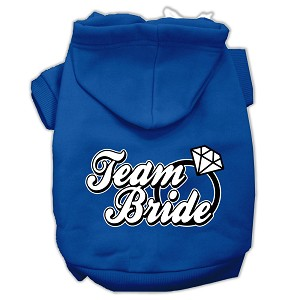 Team Bride Screen Print Pet Hoodies Blue Size XS (8)