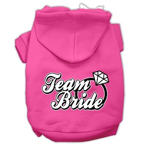 Team Bride Screen Print Pet Hoodies Bright Pink Size Sm (10)